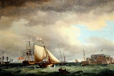 Shipping off Castle Cornet, by Thomas Whitcombe, 1785